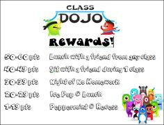 "Still more Dojo rewards.  I'm starting to think I'll do this weekly, maybe with six ""tiers"" instead of eight like I was originally thinking.  Best award would have a point value only available to one or a handful of top-point-earners, while the lowest tier would be available to everyone.  Have it during Friday Fun, with the Store Clerk responsible for distributing the goods.  Easy."