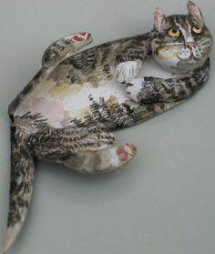 Fine Art Miniatures by Natasha, featuring shadow boxes, miniature paintings, painted sculptures, and dollhouse scale decorated period furniture. Kittens, Cats, Clay Art, Sculpting, Dog Cat, Sculptures, Owl, Miniatures, Fine Art