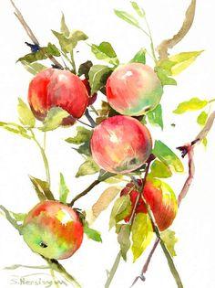 Red Green Apple Tree, Original watercolor painting, 12 x 9 in, garden fruits art, apple on tree