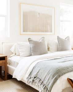 Studio McGee light and airy bedroom design, cottage bedroom with velvet pillows and white bedding wand white walls with upholstered bed and jute rug, modern coastal master bedroom decor Neutral Bedroom Decor, Serene Bedroom, Modern Bedroom Design, Bedroom Colors, Home Decor Bedroom, Bedroom Furniture, Bedroom Ideas, Neutral Bedding, Contemporary Bedroom