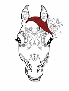 Horse-face sugar skull by RhiDraw on DeviantArt Sugar Skull Owl, Sugar Skull Tattoos, Horse Face Paint, Day Of Dead Tattoo, Simple Line Drawings, Skull Painting, Horse Art, Horse Horse, Cover Up Tattoos
