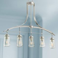 """MINKA LAVERY Poleis 39""""W Brushed Nickel 5-Light Island Chandelier $415 + AN EXTRA 15% OFF AT CHECKOUT - USE PROMO CODE: HELLOFALL19 FREE SHIPPING OR PICK UP - WEBSITE: GlowOnSunset.Net"""