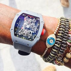 Pharrell Williams sporting a Richard Mille RM27-01 Rafa Nadal this weekend on set of his new music video.