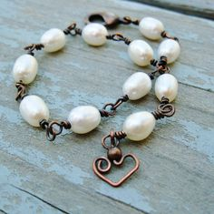 Freshwater Pearls and Antiqued Copper wire by BearRunOriginals