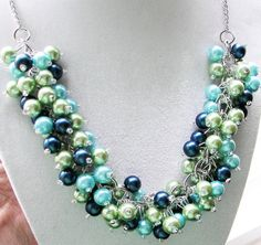 Turquoise Lime and Dark Blue Pearl Necklace by SeagullSmithJewelry
