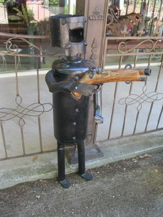 """""""Ned"""" garden art made from recycled gas tanks and bits. Stands 110cm high."""