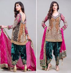 The stunning velvet shalwar gives a new meaning to royalty Fashion Pakistan Pakistani Formal Dresses, Pakistani Wedding Outfits, Nikkah Dress, Pakistani Dress Design, Indian Dresses, Indian Outfits, Ethnic Outfits, Bridal Outfits, Lehenga Choli