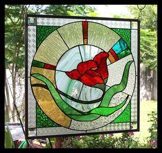 "Stained Glass Window Panel ""Fiery Poppy"""
