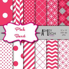 Pink Burst Digital Scrapbook Paper  Commercial Use  by AshleyLeigh