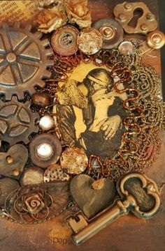 Steampunk boxe Collage, mixed media on wood #steampunk #mixedmedia #collage #wood #handmade #handcraft #vintage #gear #kiss #lover #hollywood #acrylic #alteredboxes #craft #skull #brown #gold #heart #cutandpaste #2017 #art #artist #artisan #decor