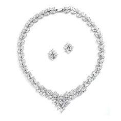 Regal Marquise Cubic Zirconia Statement Necklace Set