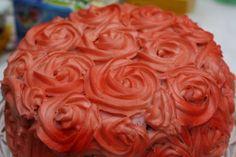 """""""How to"""" sprøjte en rose i frosting Virkelig flot og lækker kage!"""