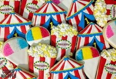 Carnival Cookies and Circus Cookies - 2 Dozen by CookieWhipped on Etsy https://www.etsy.com/listing/490240199/carnival-cookies-and-circus-cookies-2
