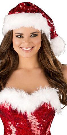 Sexy Deluxe Sequins Faux Fur Santa Hat | Musotica.com