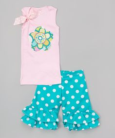 Love this Beary Basics Pink & Teal Retro Daisy Tank & Shorts - Infant, Toddler & Girls by Beary Basics on #zulily! #zulilyfinds
