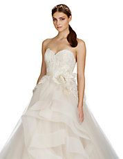 Lazaro Horse Hair Tiered Skirt Ball Gown