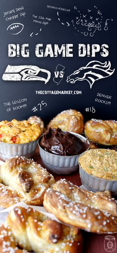 BIG Game Dips!  One for the host...NJ...one for the Broncos and one for the Seattle Seahawks...Sweet Savory and Spicy!!!! YUM!