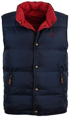 Polo Ralph Lauren Mens Reversible Down Filled Puffer Vest - S - Navy/Red Polo Ralph Lauren ++ You can get best price to buy this with big discount just for you.++
