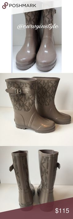"""🌺Michael Kors Rain Boots! Michael Kors Rain boots in gray/Taupe color! In great condition!! Heel to toe is 9.5"""".  Heel is 1"""".  Width 3.75"""". KORS Michael Kors Shoes Winter & Rain Boots"""