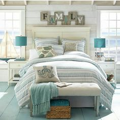 """This bedroom screams """"New England seaside cottage"""" to me"""