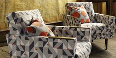 Kirkby Design - Great fabrics modeled on retro-mod furniture