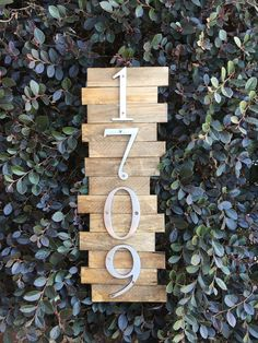 Wooden Modern House Number Sign by ThePartyGirlStudio on Etsy