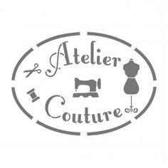 """Pochoir """"Atelier Couture"""" en vinyle adhésif repositionnable"""