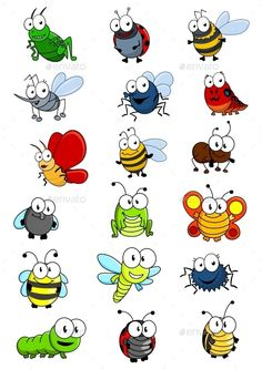 Cartooned insects set with bee wasp hornet caterpilllar grashopper ladybug Bug Cartoon, Cartoon Drawings, Animal Drawings, Easy Drawings, Cartoon Images, Drawing For Kids, Art For Kids, Happy Paintings, Bugs And Insects