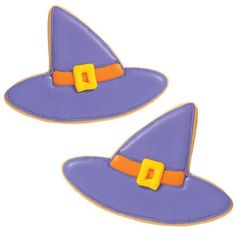 Smooth Witch Hats Cookies - Well here are some hats of a different color. Smooth violet color flow icing adds a magical sheen to this witch's favor accessory. Great for party snacking and treat giving.