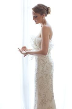 Beautiful patterned Marchesa gown  Photography by amyandstuart.com