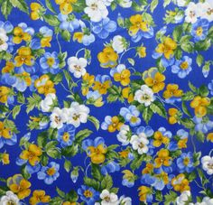 Cotton Fabric, Quilt, Home Decor, Floral,Summer Breeze III~by Moda~329114~Pansies~Blue Fast Shipping,F190