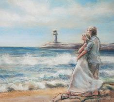This is so beautiful. Seascape romantic original painting print ocean couple beach seashore waves lighthouse matted