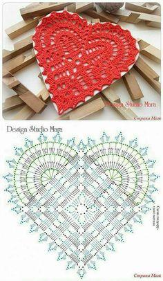 Diy Crafts - Crochet Heart Flower Valentines Ideas For 2019 Filet Crochet, Crochet Mignon, Crochet Chart, Thread Crochet, Crochet Motif, Crochet Doilies, Crochet Flowers, Diy Crafts Crochet, Crochet Gifts