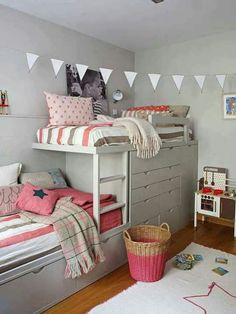 IKEA stuva loft bed is a complete solution for your kids room, include desks, cabinets and open shelving units Bed Design, Shared Bedroom, Stuva Loft Bed, Bedroom Design, Kid Beds, Room Inspiration, Girl Room, Bed, Bunk Bed Designs