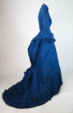 Grand Antique 1870's French Victorian Blue Silk Fishtail Reception Gown