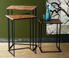 Roost Recycled Wood Nesting Tables * Next Day Shipping * – Modish Store Home Furnishing Stores, Home Furnishings, Wood Nesting Tables, Wood Tables, Console Tables, Recycled Wood Furniture, Home Decor Online, Furniture Collection, Contemporary Furniture