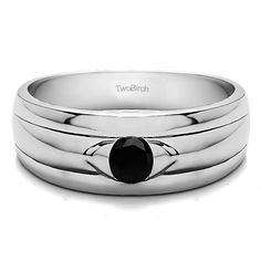 Sterling Silver Solitaire Cool Men's Wedding Ring With Black Diamonds (0.51 Cts.) (Sterling Silver, Size 5.5), White (solid)