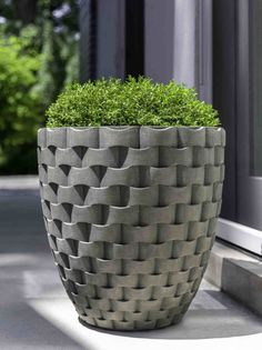 Kinsey Garden Decor Weave Contemporary Tall Round Planter with unique, modern large woven basket pattern, Front door curb appeal container gardening ideas or backyard patio accents Cement Flower Pots, Cement Planters, Concrete Pots, Concrete Crafts, Planter Pots, Indoor Plants, Potted Plants, Container Gardening, Flower Gardening