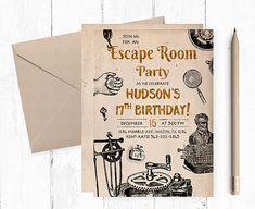 Instant download escape room party invitations 5x7 4x6 for Escape room ideen