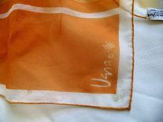 Vera Neumann LADYBUG Japan Vintage 60s sheer orange mod Nylon Rolled Scarf block print, striped