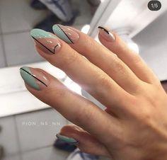 Edgy Nails, Chic Nails, Oval Nails, Stylish Nails, Oval Nail Art, Grunge Nails, New Nail Designs, Art Designs, Round Nail Designs