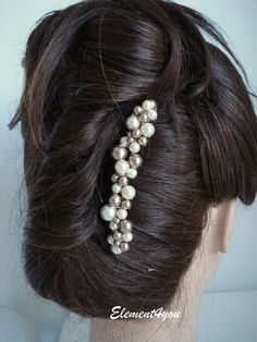 Ivory Champagne Pearls Comb Bridal Swarovski pearls by Element4you, $26.00