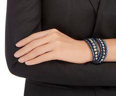 LOVE. Slake Dark Blue Dot Bracelet from #Swarovski