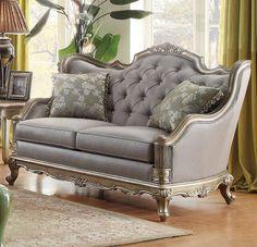 Topline Home Furnishings Old-World Gold Loveseat Gold Sofa And Loveseat Set, Sofa Furniture, Sofa Makeover, Furniture, Love Seat, Modern Sofa Designs, Mattress Furniture, Sofa Set, White Furniture Living Room