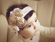 Ivory/Caramel/stone  Vintage Headband/Child Headband /baby Girl Headband /Photo prop Headband. $14.95, via Etsy.