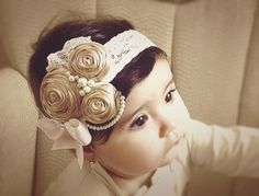 Ivory/Caramel/stone++Vintage+Headband/Child+by+Daniellasjewels,+$18.95