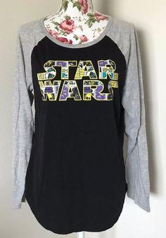 Disney Star Wars Women's Size XL Baseball Tee Sleep Shirt Black Gray EUC #StarWars #GraphicTee