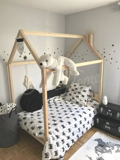 Child room, toddler bed, house bed, tent bed, children bed, wooden house, wood house, wood nursery, kids teepee bed, wood bed frame, wood house bed