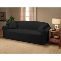 Modern Sofa Jersey Stretch Sofa Slipcover Gray