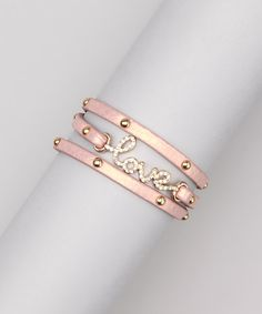 Take a look at this Pink & Swarovski Crystal 'Love' Studded Wrap Bracelet by Tammy Spice Jewelry on #zulily today!